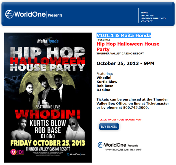 WorldOne-Presents-Hip-Hop-Halloween-House-Party-Concert-Whodini-Kurtis-Blow-Rob-Base-2013-V101-1-Maita-Honda-Portal