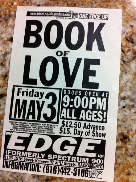 Book of Love Concert Flyer Sacramento California 1991 One Edge Up-RSJ