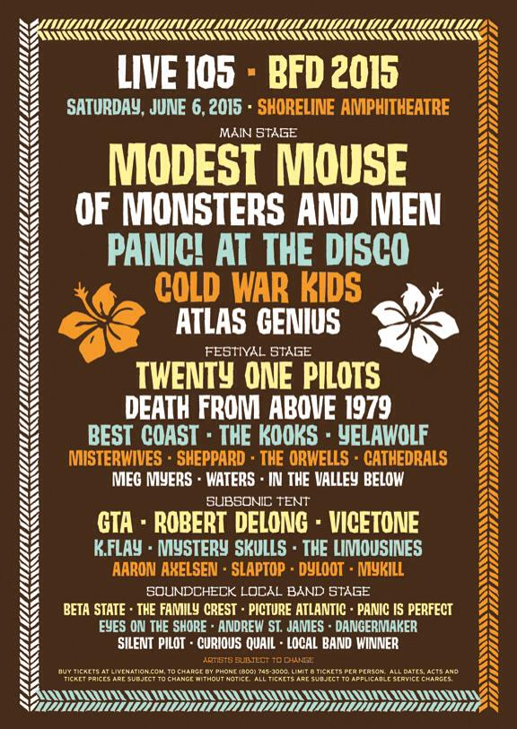 Live 105 21st Annual BFD 2015 Festival Concert Line-Up Tickets Information