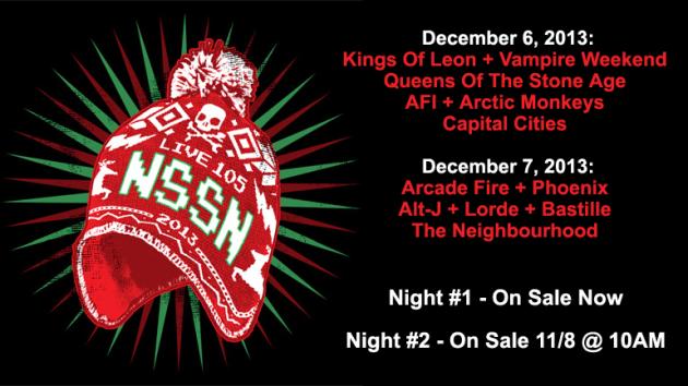 Live-105-Not-So-Silent-Night-2013-NSSN-Kings-of-Leon-Phoenix-Lorde-Vampire-Weekend-Arctic-Monkeys-Arcade-Fire-Portal