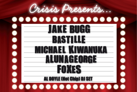 Crisis Presents December 2013 Concert Hammersmith London Jake Bugg Bastille Michael Kiwanuka AlunaGeorge Foxes Hot Chip Charity Portal