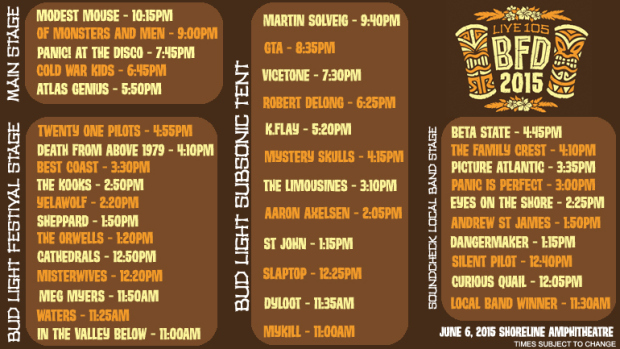 Live 105 BFD 2015 Line Up Set Times Main Stage Festival Stage